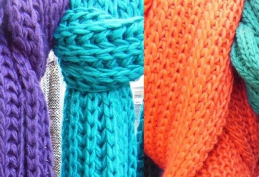 Row of colourful scarves